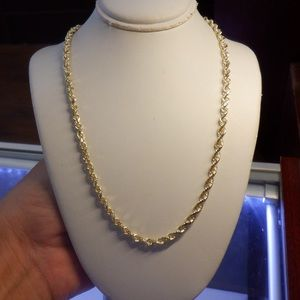 Jewelry - 14k real solid yellow gold rope chain 24'inch